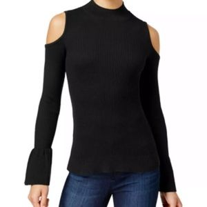BCX Black Ribbed Knit Cold-Shoulder Sweater NWT